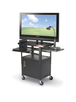 Balt Height Adjustable Flat Panel TV Cart with Cabinet (Black) (Box 1 & 2)