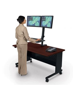 Balt Up-Rite Rear Mount Desk Mounted Sit/Stand Workstation - Dual Monitor Mount
